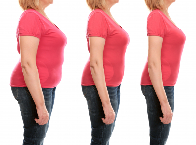 mature woman's body before and after weightloss on white background